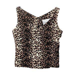 VINTAGE Dani Max Leopard Print V-Neck Crop Top 8